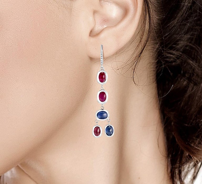 Diamond Hoop Earrings with Cabochon Ruby and Sapphire Drops Weighing 17.06 Carat In New Condition For Sale In New York, NY