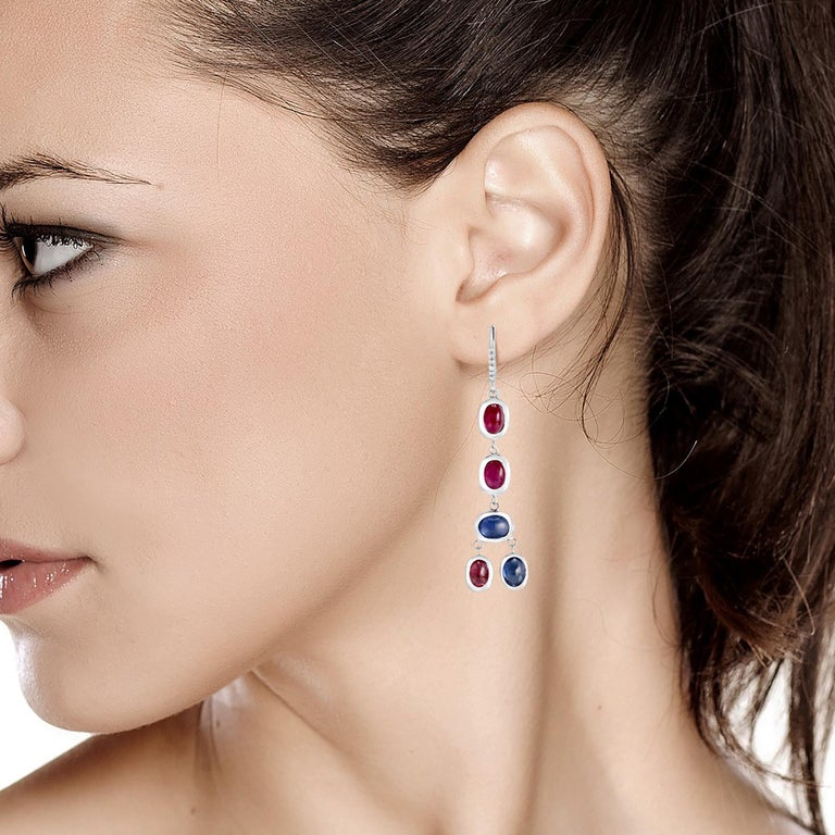 Diamond Hoop Earrings with Cabochon Ruby and Sapphire Drops Weighing 17.06 Carat For Sale 2