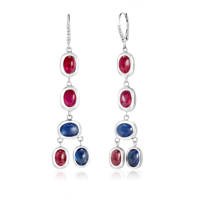Diamond Hoop Earrings with Cabochon Ruby and Sapphire Drops Weighing 17.06 Carat For Sale 1