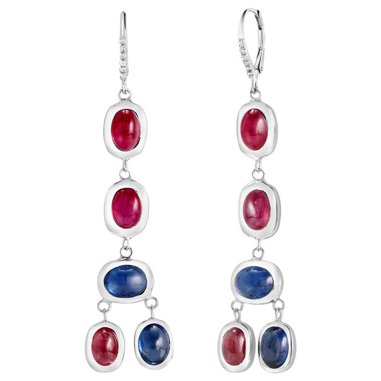Oval Cut Diamond Hoop Earrings with Cabochon Ruby and Sapphire Drops Weighing 17.06 Carat For Sale