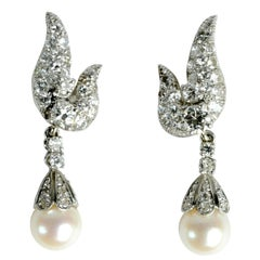 Diamond Earrings with Detachable Pearl and Diamond Drops by Charles Vaillant