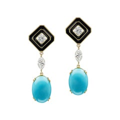 Diamond Earrings with Detachable Turquoise and Diamonds Drops
