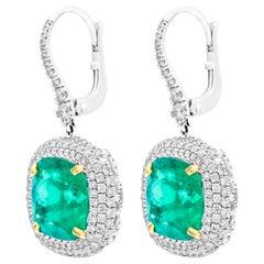 Diamond Earrings with Green Columbian Emeralds in 18 Karat White Gold