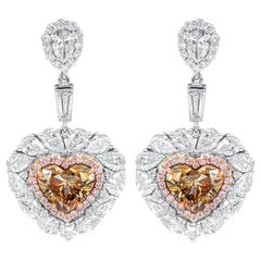 Diamond Earrings with Heart Shape Cognac Diamonds