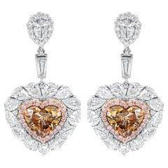 Diamond Earrings with Heart Shape Cognac Diamonds