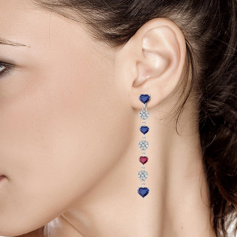 Diamond Hoop Earrings with Heart Shape Ruby and Sapphire Drops Weighing 5 Carat In New Condition For Sale In New York, NY