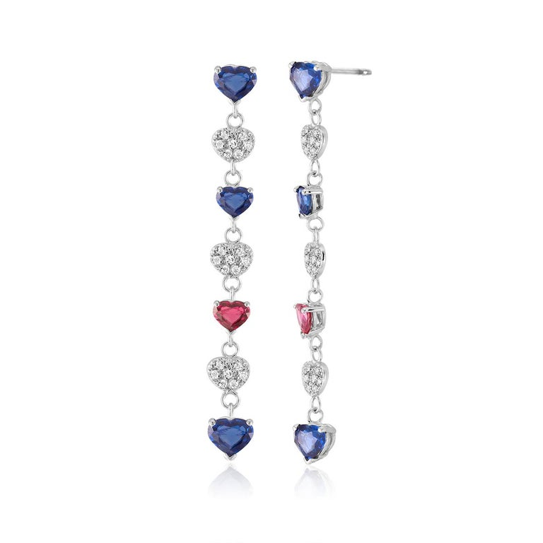 Pear Cut Diamond Hoop Earrings with Heart Shape Ruby and Sapphire Drops Weighing 5 Carat For Sale