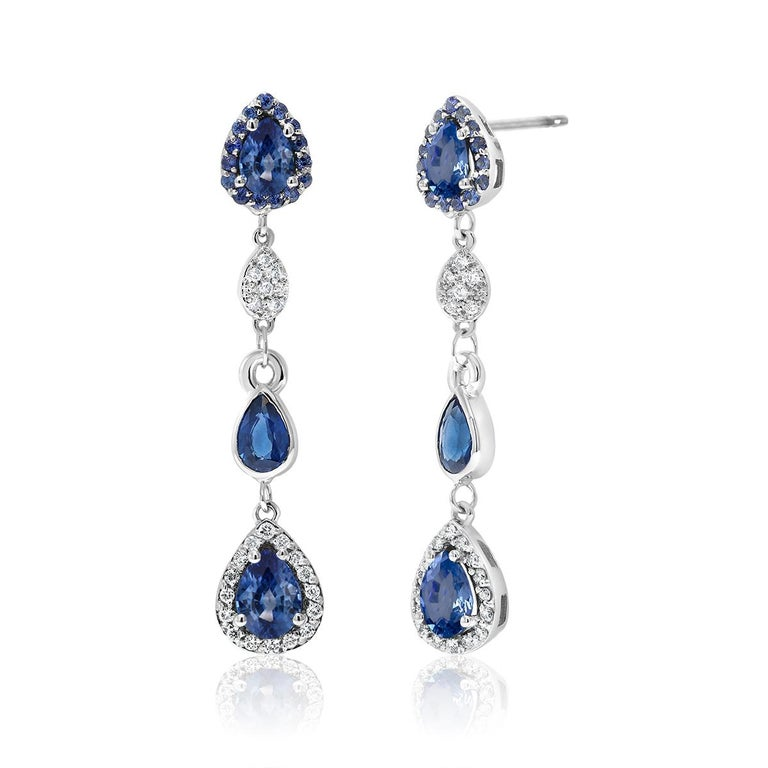 Contemporary Diamond Earrings with Pear Shape Sapphire Drops Weighing 4.90 Carat For Sale