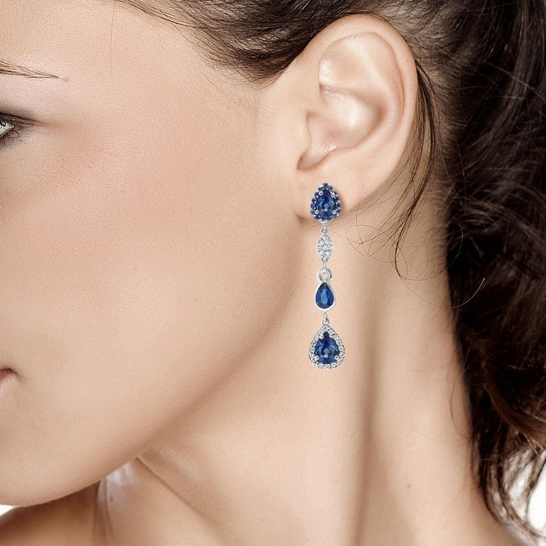 Women's Diamond Earrings with Pear Shape Sapphire Drops Weighing 4.90 Carat For Sale
