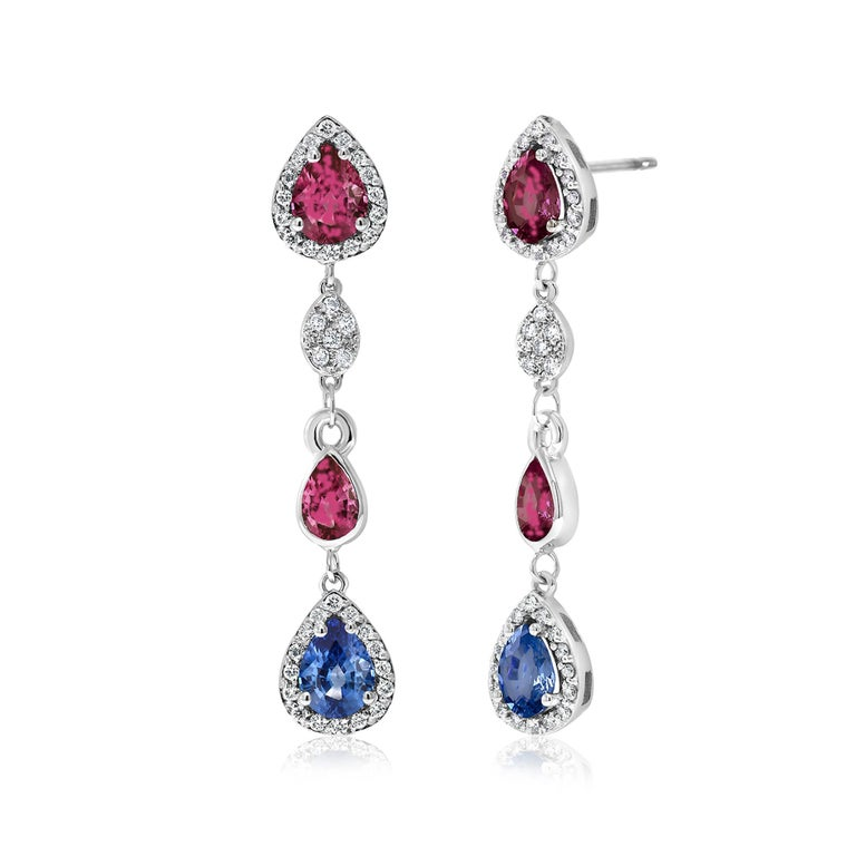 Women's Diamond Earrings with Ruby and Sapphire Drops Weighing 4.96 Carat  For Sale
