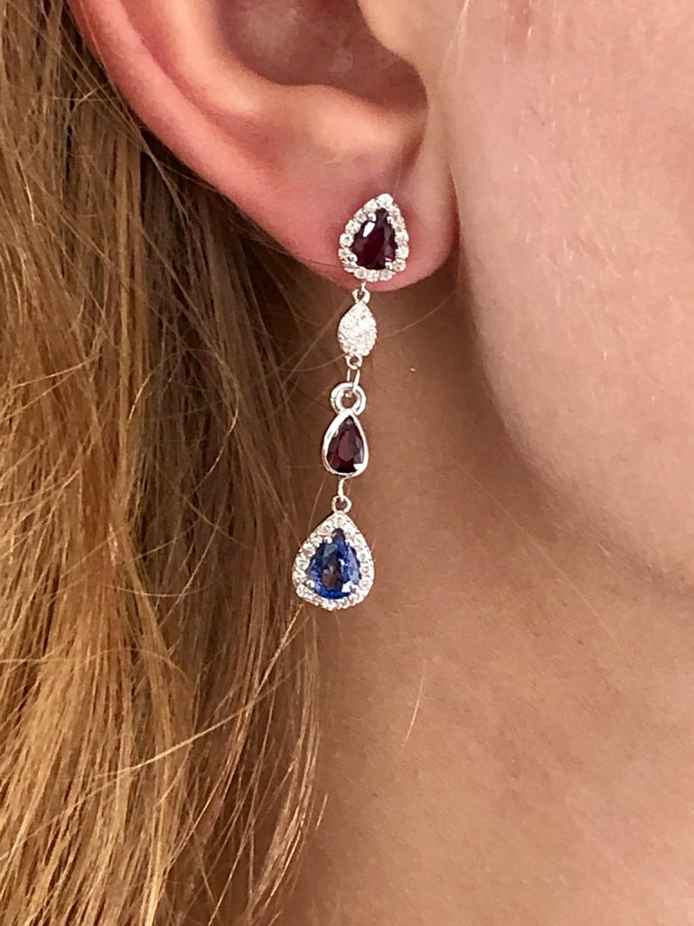 Pear Cut Diamond Earrings with Ruby and Sapphire Drops Weighing 4.96 Carat  For Sale