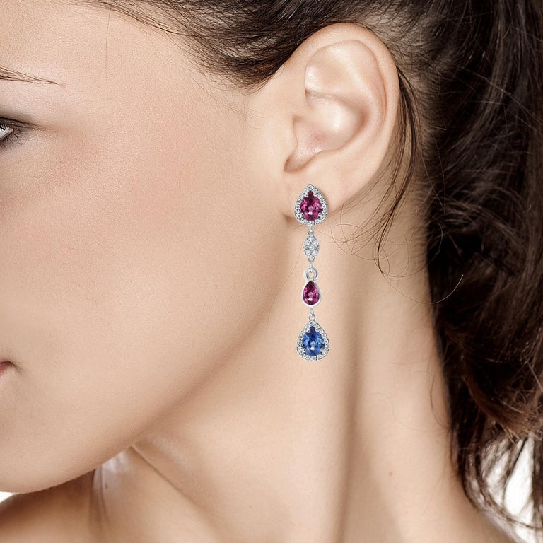 Diamond Earrings with Ruby and Sapphire Drops Weighing 4.96 Carat  In New Condition For Sale In New York, NY