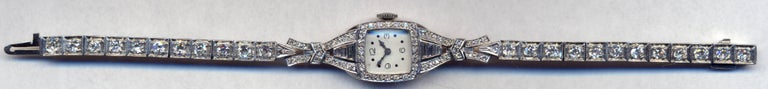 Diamond Elgin Watch Circa 1940's in Platinum  From Nat to Eva to You Engraved on the back