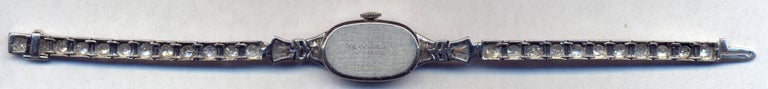 Art Deco Diamond Elgin Watch, circa 1940s in Platinum For Sale
