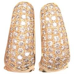 Diamond Elongated Huggie Earring in 18 Karat Yellow Gold