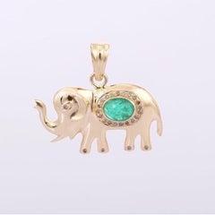 Diamond Emerald 14 Karat Gold Elephant Pendant Necklace
