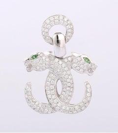 Diamond Emerald 14 Karat Gold Panther Pendant Necklace