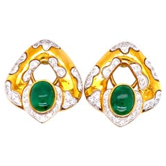 Diamond Emerald 18 Karat Yellow Gold Earrings