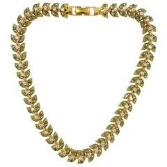 Diamond Emerald 18 Karat Yellow Gold Leaf Motif Vintage Necklace