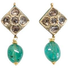 Diamond Emerald 22 Karat Drop Earrings with Indian Kundan Enamel Work, Mid-1900s