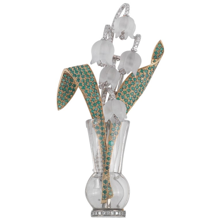 Diamond, Emerald and Rock Crystal Lily Of The Valley Flowers Brooch For Sale