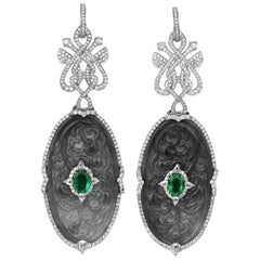 Diamond, Emerald and Curved Jade Drop Earrings/Pendant in 18 Karat White Gold