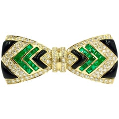 Diamond, Emerald and Onyx 18 Karat Large Bow Brooch by Giovane