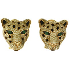 Diamond, Emerald and Onyx Panther in Yellow Gold Stud Earrings