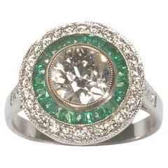 Diamond, Emerald and Platinum Target Ring, 1.29 Carats