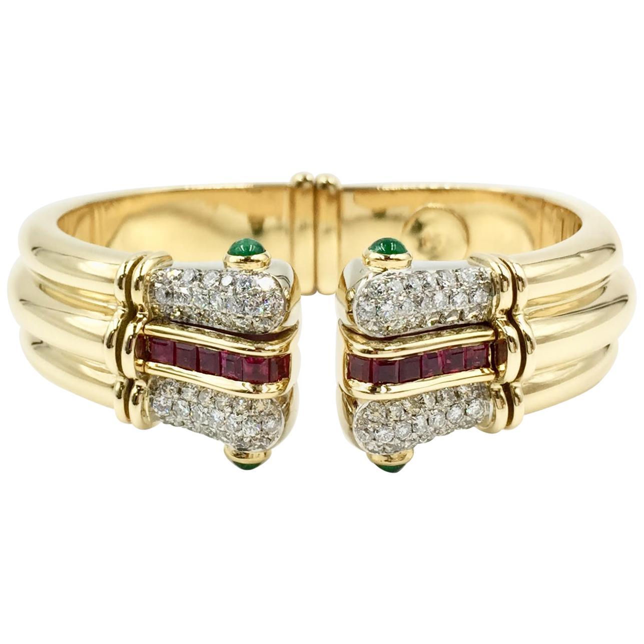 Diamond, Emerald and Ruby 18 Karat Wide Cuff Bracelet