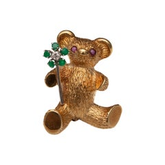Diamond, Emerald and Ruby Teddy Bear Brooch Pin, 18 Karat Gold