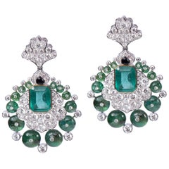 Diamond Emerald Beads Onyx Earring