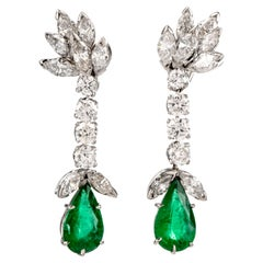 Diamond Emerald Botanical Platinum Dangle Drop Screw-back Earrings