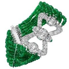 Diamond Emerald Bow Bracelet