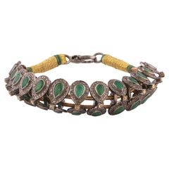 Diamond & Emerald Bracelet on Cotton Cord & Silver