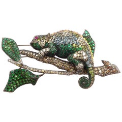 Diamond, Emerald Cameleon Brooch Set in Silver and 18 Karat Blackened Gold