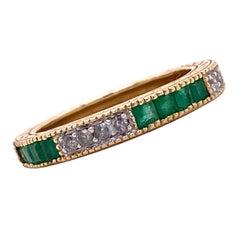 Diamond Emerald Channel Set 14 Karat Yellow Gold Eternity Band Ring