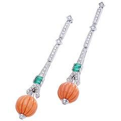 Diamond Emerald Corail White Gold Ear Pendants Earrings