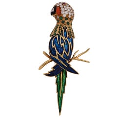 Diamond, Emerald, Coral and Enamel Parrot Brooch Pin