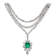 Diamond Emerald Drop Necklace