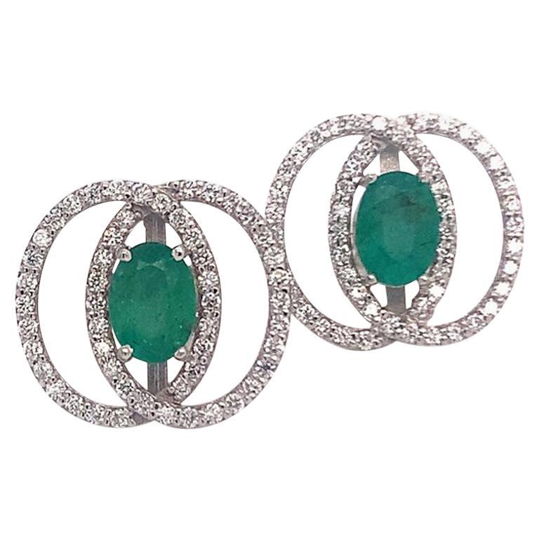 Diamond Emerald Earrings 14 Karat White Gold 2.16 Carat Certified