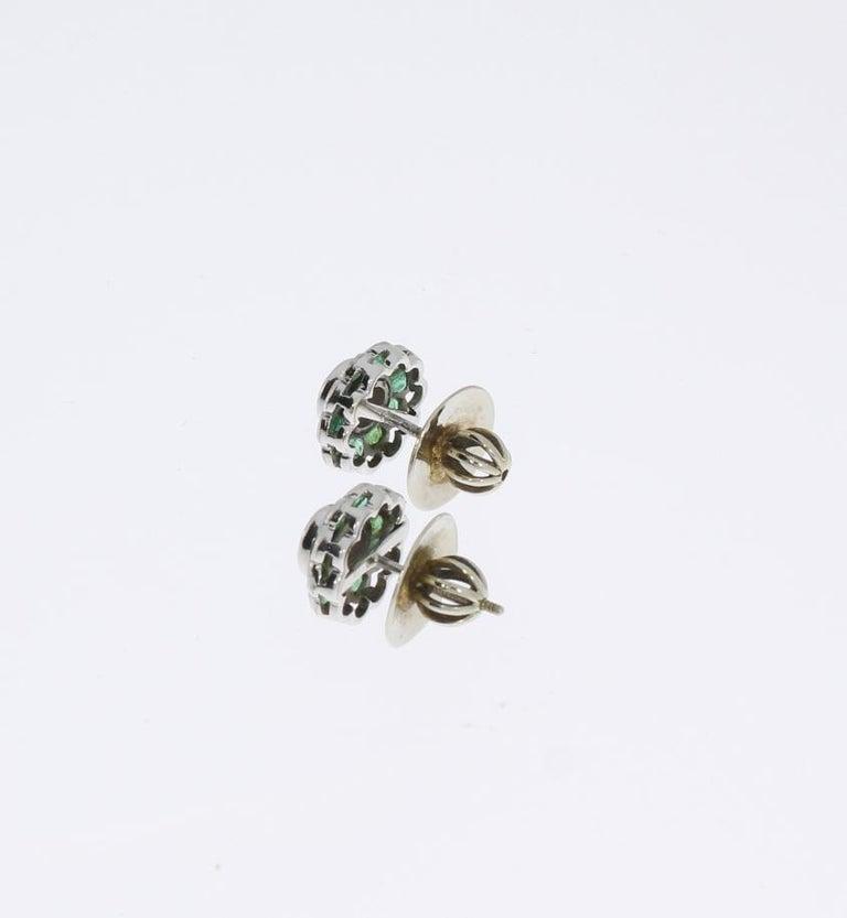 Women's Diamond Emerald Floral Shape Stud Gold Earrings For Sale