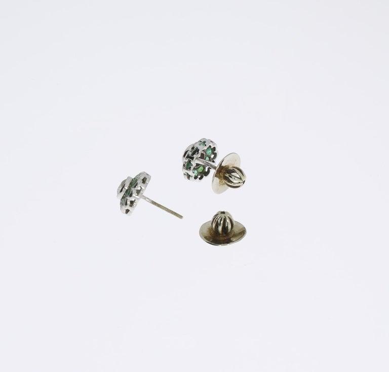 Diamond Emerald Floral Shape Stud Gold Earrings For Sale 1
