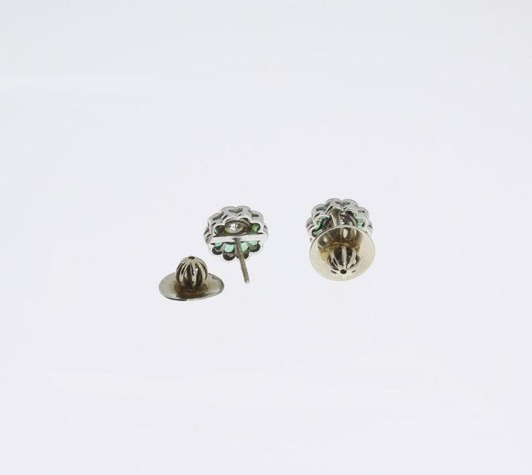 Diamond Emerald Floral Shape Stud Gold Earrings For Sale 2