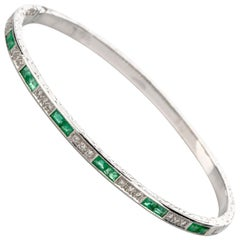 Diamond Emerald Gold Bangle 18 Karat Bracelet