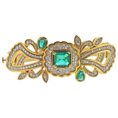 Diamond Emerald Gold Bangle Bracelet