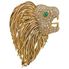 Diamond Emerald Gold Lion Head Brooch Pin