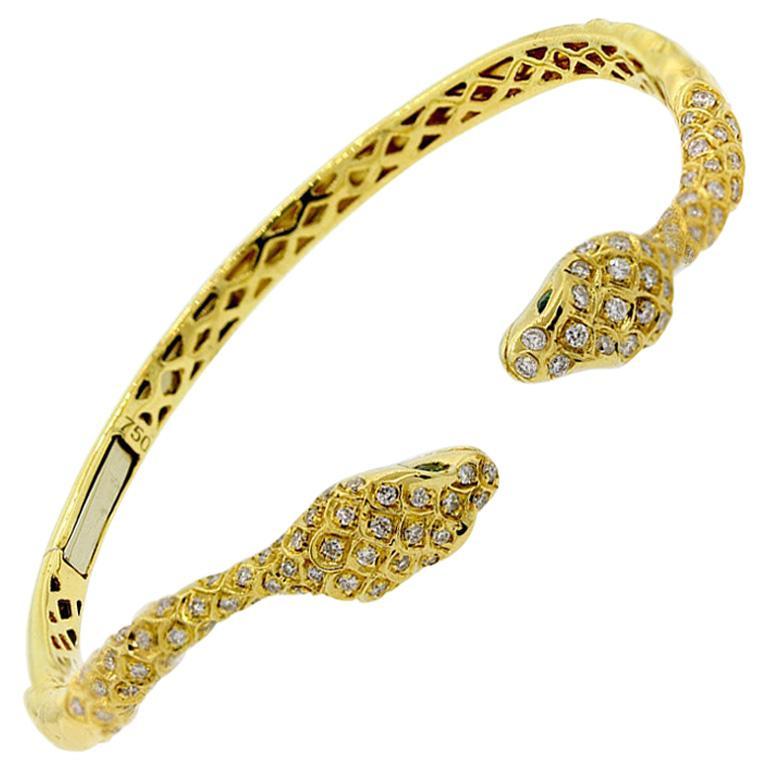 Diamond Emerald Gold Snake Cuff Bracelet