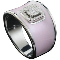 Diamond Emerald Illusion Fashion Ring with Pink Enamel in 18 Karat Gold