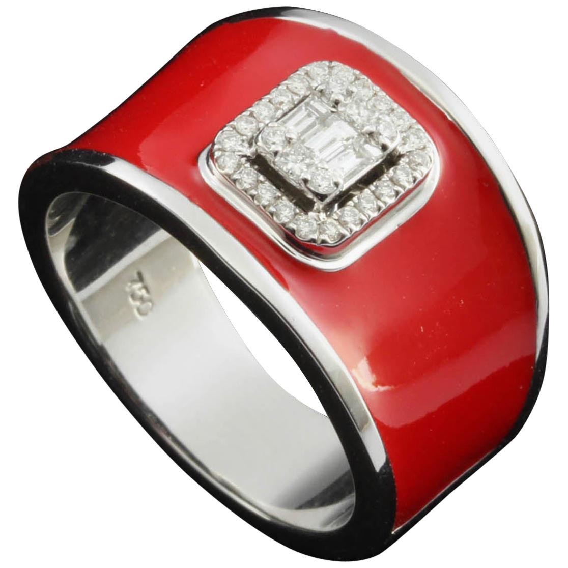 Diamond Emerald Illusion Fashion Ring with Red Enamel in 18 Karat Gold